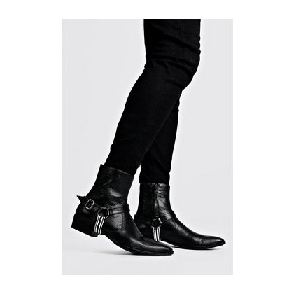 Faux Leather Tape Harness Cuban Chelsea Boots in Black