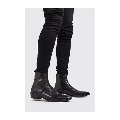 Faux Leather Zip Cuban Chelsea in Black