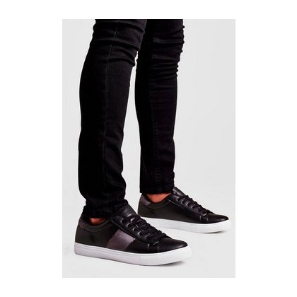 Contrast Velvet Side Tape Trainer in Black