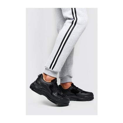 Velvet Panel Chunky Trainer in Black