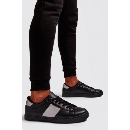 Reflective Side Tape Trainer in Black