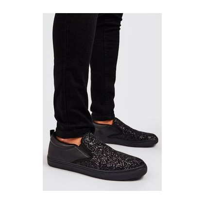 Glitter Slip On Trainer in Black