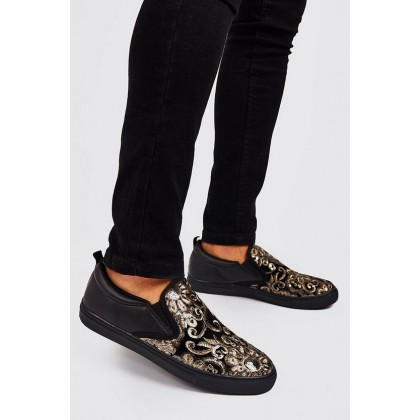 Baroque Embellished Ship On Trainers in Black