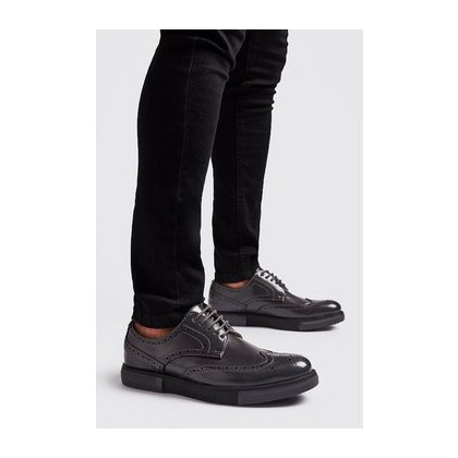 Lace Up Brogue Trainers in Dark Grey