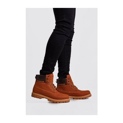 Padded Collar Mid Length Hiker Boot in Tan