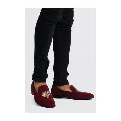 Velvet Embroidered Loafer in Red
