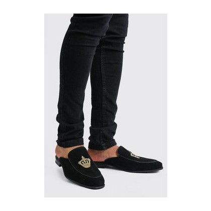 Slip On Embroidered Loafer in Black