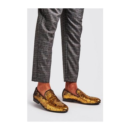 Party Sequin Loafers in Gold