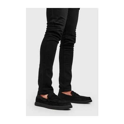 Faux Creeper Velvet Emboss Loafer in Black