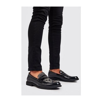 Faux Leather Chunky Loafer in Black