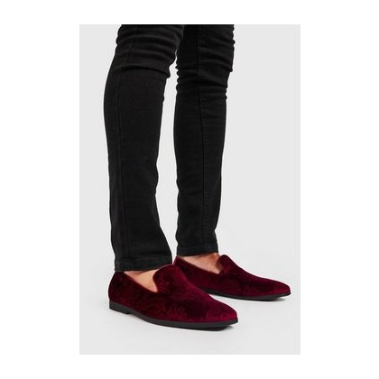 Faux Velvet Embossed Loafer in Red