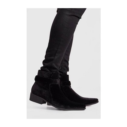 Buckle Western Chelsea Boot in Black