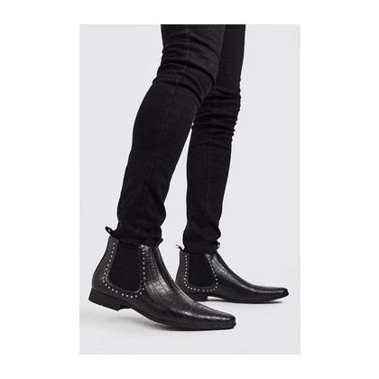 Faux Leather Stud Chelsea Boot in Black