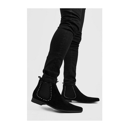 Faux Suede Stud Chelsea Boot in Black