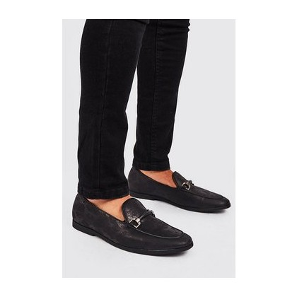Faux Snake Print Rubber Horsebit Loafer in Black