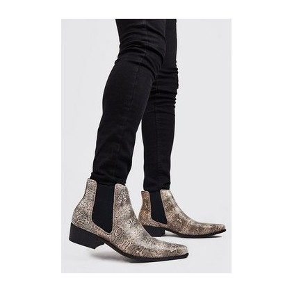 Faux Snake Print Western Chelsea Boot in Gold