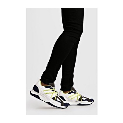 Neon Yellow Bungee Cord Chunky Trainers in White