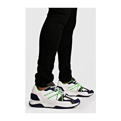 Neon Bungee Cord Chunky Trainers in White