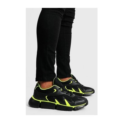 Neon Pop Chunky Trainer in Black