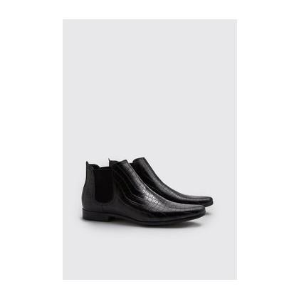 Croc Effect Chelsea Boot in Black