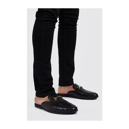 Croc Effect Slip On Loafer in Black