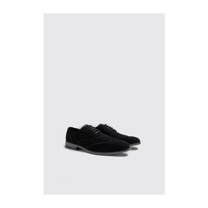 Faux Suede Wingcap Brogues in Black