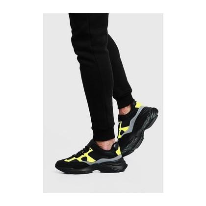 Neon & Reflective Chunky Sneaker in Black