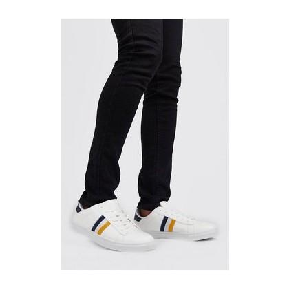 Stripe Side Tape Detail Sneaker in White