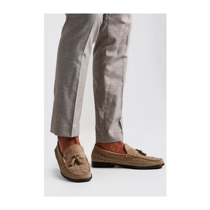 Woven Suede Look Tassel Loafer in Sand