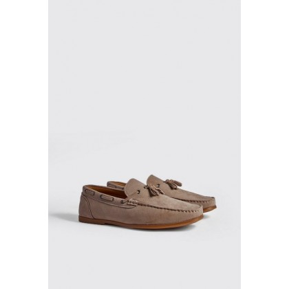 Faux Suede Loafer With Tassel in Sand