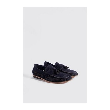 Faux Suede Weave Tassel Loafer in Navy