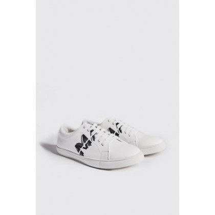 Faux Leather Man Sneaker in White