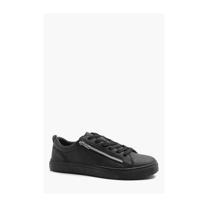 Croc Effect Zip Trainer in Black