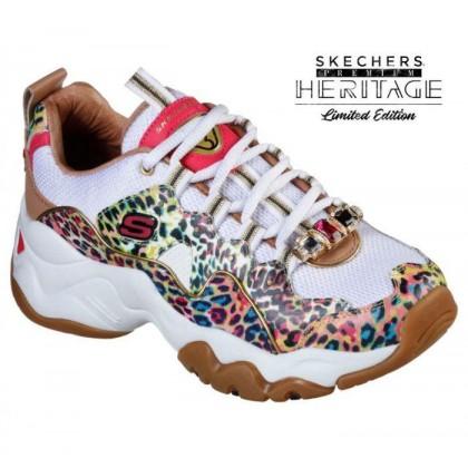 Women's Skechers Premium Heritage: D'Lites 3.0 - Cheetah Queen White/Multi
