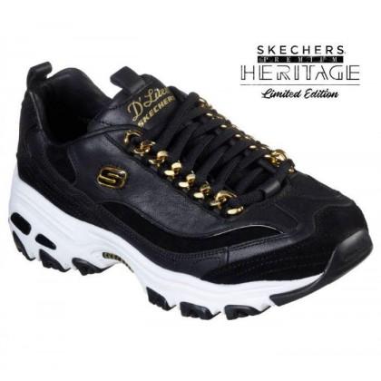 Women's Skechers Premium Heritage: D'Lites - Golden Idea Black/Gold