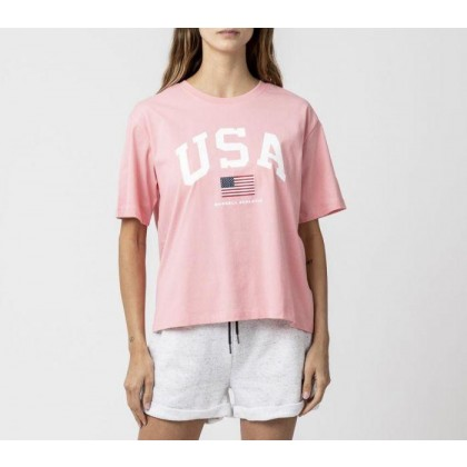 Womens Athletic USA Tee Fluro Pink