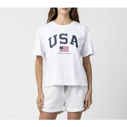 Womens Athletic USA Tee White
