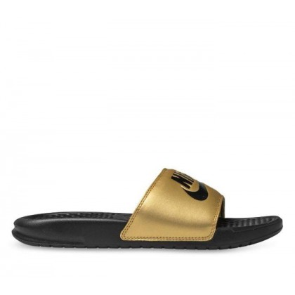 Womens Benassi JDI Slide Black/Black-Metallic Gold