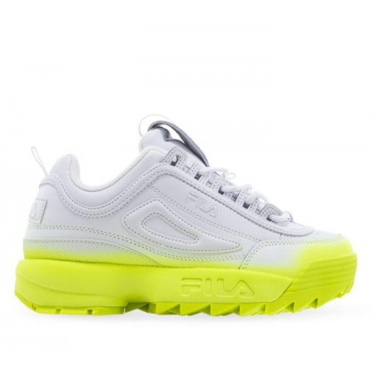 Womens Disruptor II Brights Fade White/White/Safety Yellow