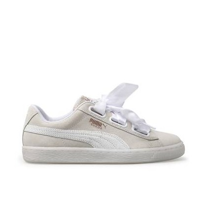 Womens Suede Heart White