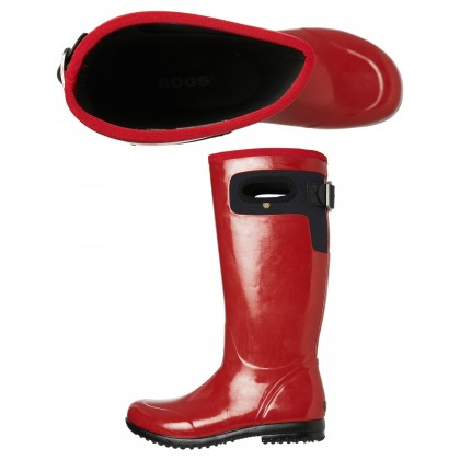 Womens Tacoma Solid Tall Boot Red