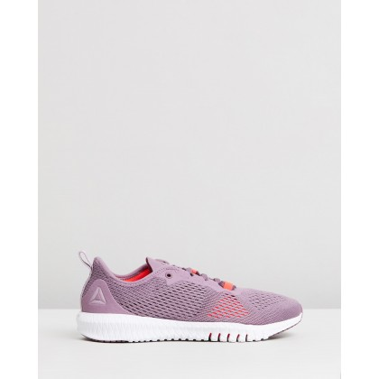 Flexagon - Women's Noble Orchid, Lilac Fog, White & Neon Red by Reebok Performance