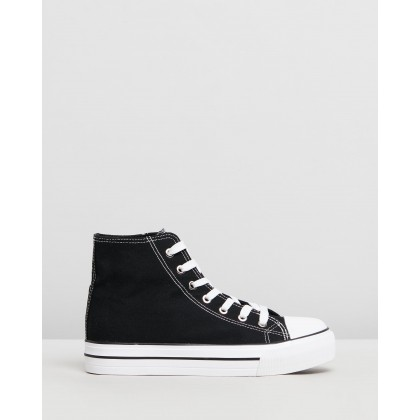 Jemma High Top Sneakers Black Canvas by Rubi