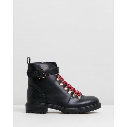 Hariette Lace Up Boots Black & Gold by Rubi