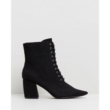 Giselle Pointed Lace-Up Boots Black Micro by Rubi