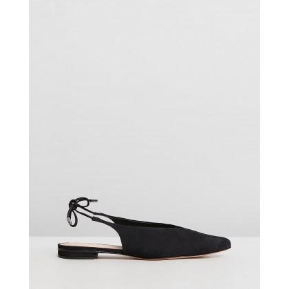 Pointed Tie-Up Flats Black by Schutz