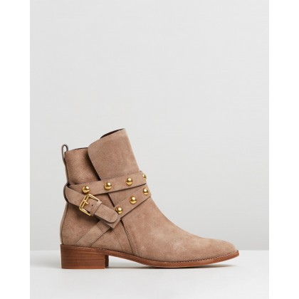 Studded Wrap Leather Flat Boots Taupe by See By Chlo??