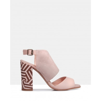 Piper Suede and Leather Heels POWDER by Sempre Di
