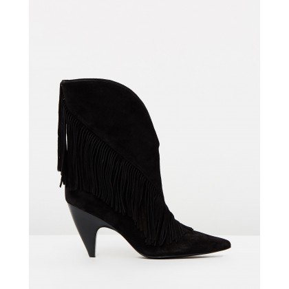 Giliana Fringe Booties Black by Pink Inc