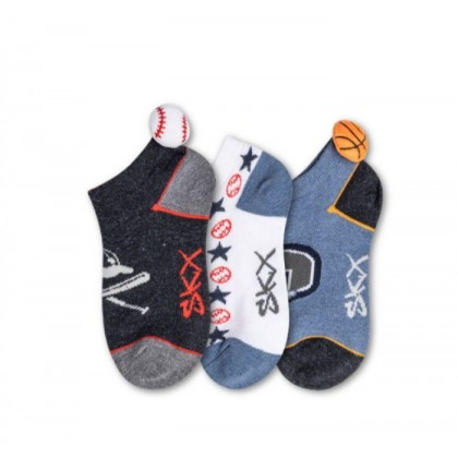 Blue Combo - Boys' 3 Pack Non-Terry Low Cut Socks